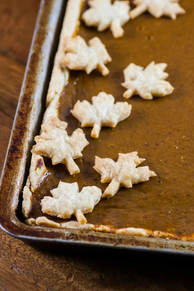 Pumpkin Slab Pie with pie crust maple leaves in a jelly roll pan