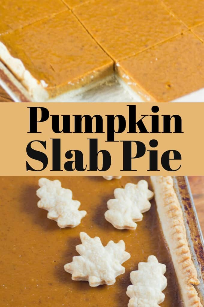 This Pumpkin Slab Pie is the perfect dessert to feed a crowd for the holidays!! #pie #Thanksgiving #Christmas #pumpkinpie #pumpkinslabpie