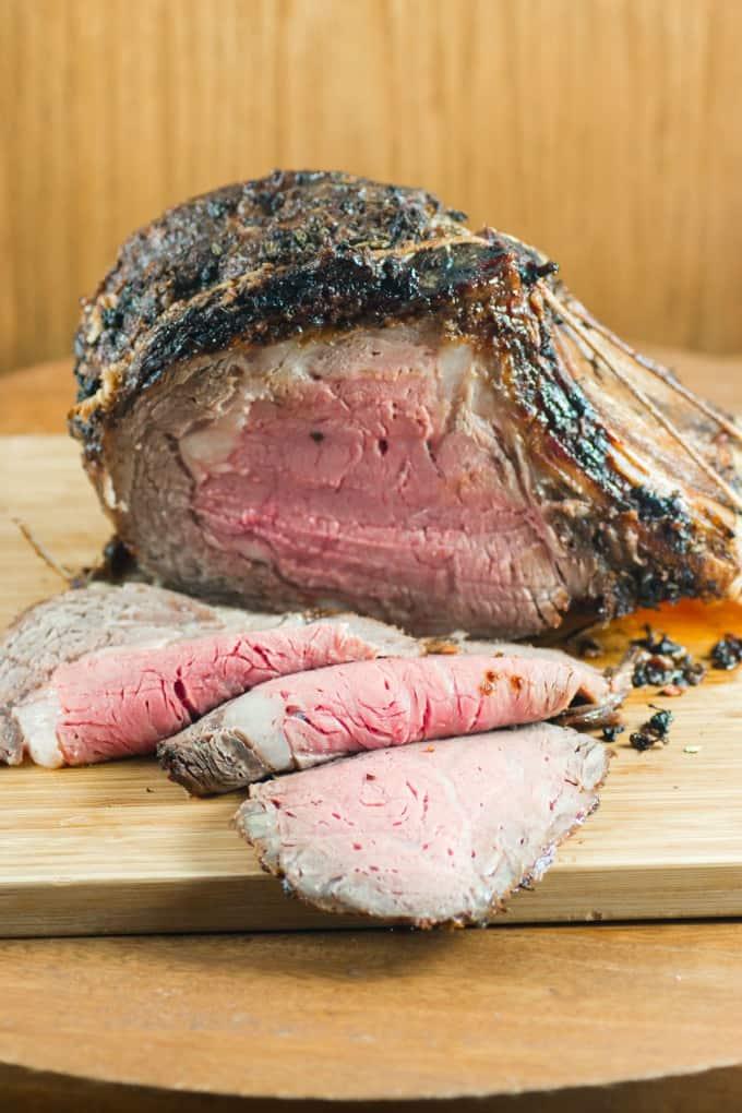 Sliced prime rib