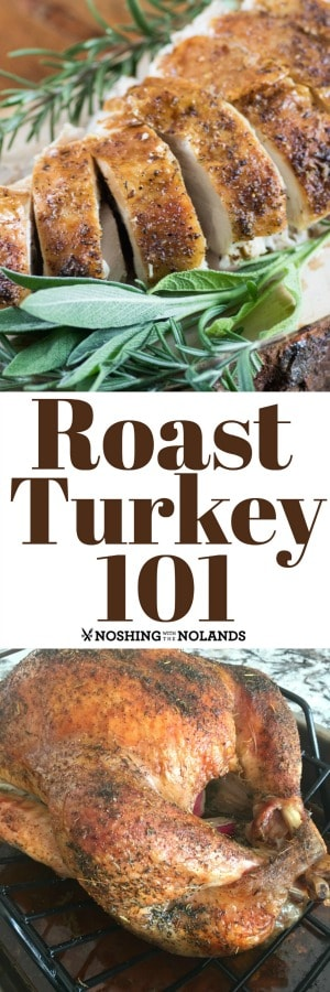 Roast Turkey 101 will help you walk through the steps of making a perfect turkey and gravy if you are a beginner or a great reminder for the expert cook too. #roastturkey #howto