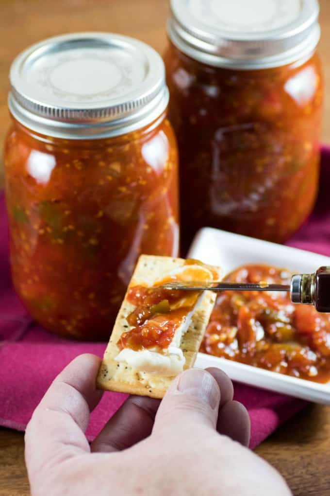 Tomato Jam being served up on a cracker