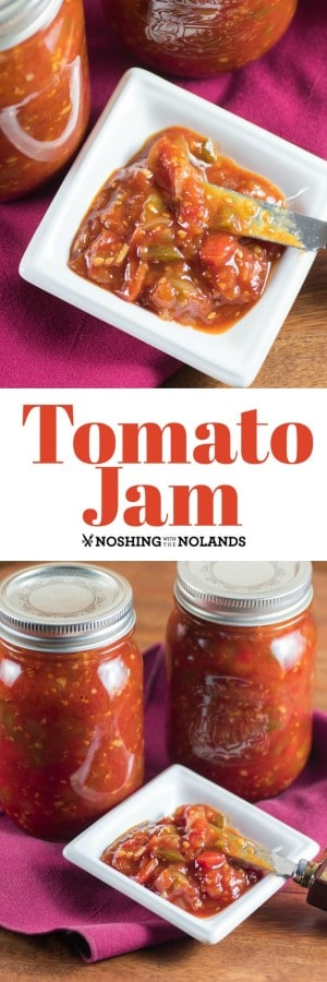 Tomato Jam Recipe is very simple to make and can. This condiment is delicious with so many dishes!! #tomatojam #tomatoes #canning