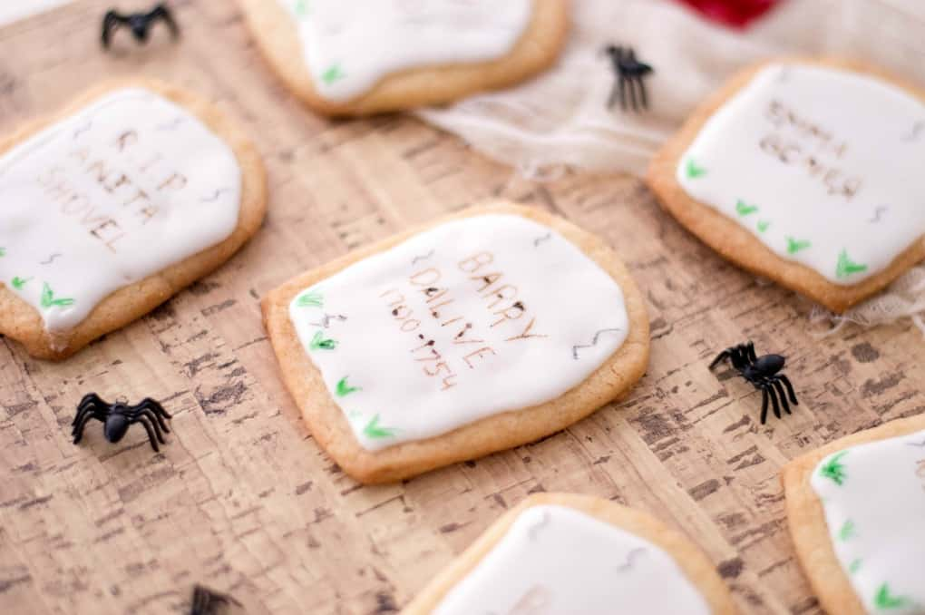 Tombstone cookies with spiders