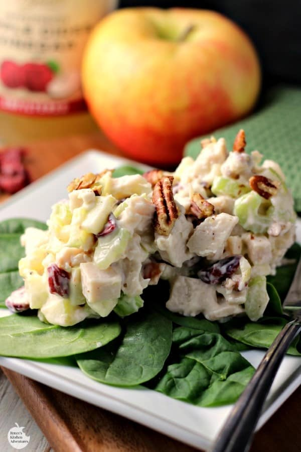Turkey Cranberry Apple Pecan Salad on Spinach on a white plate