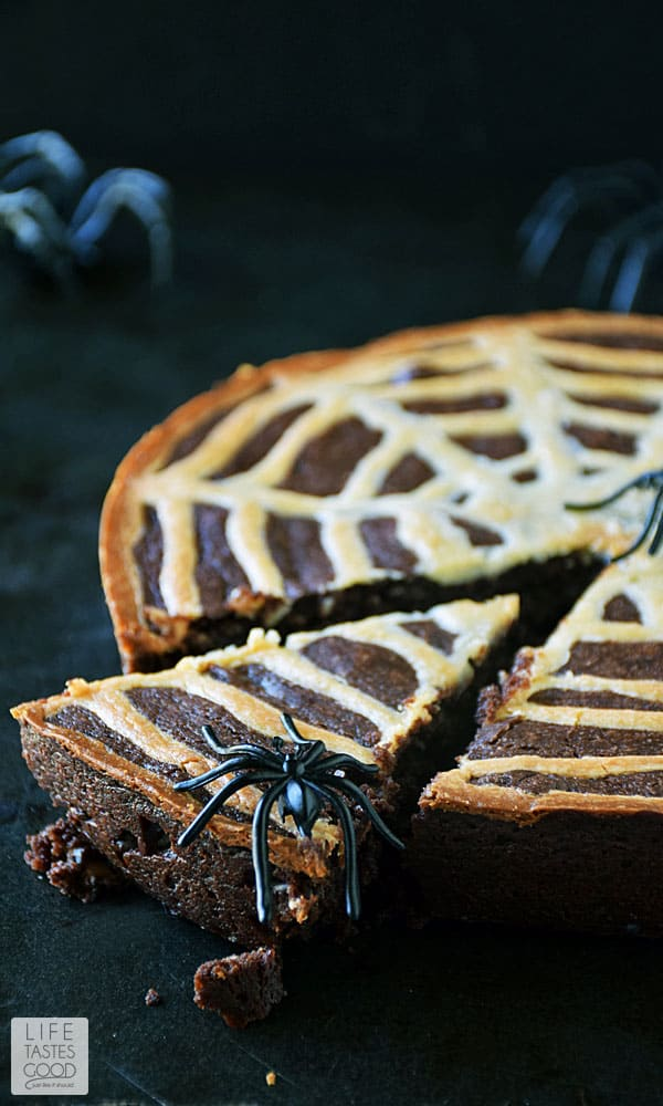 Spider web brownies with a spider