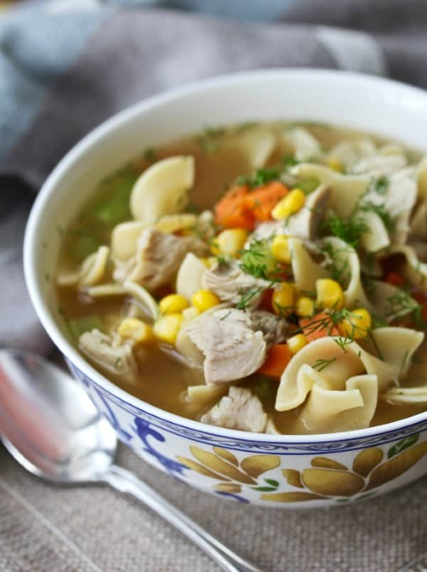Turkey Noodle Soup in a white bowl