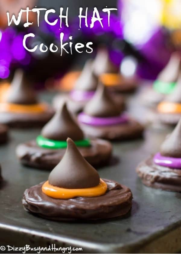 Witch Hat Cookies on a black board