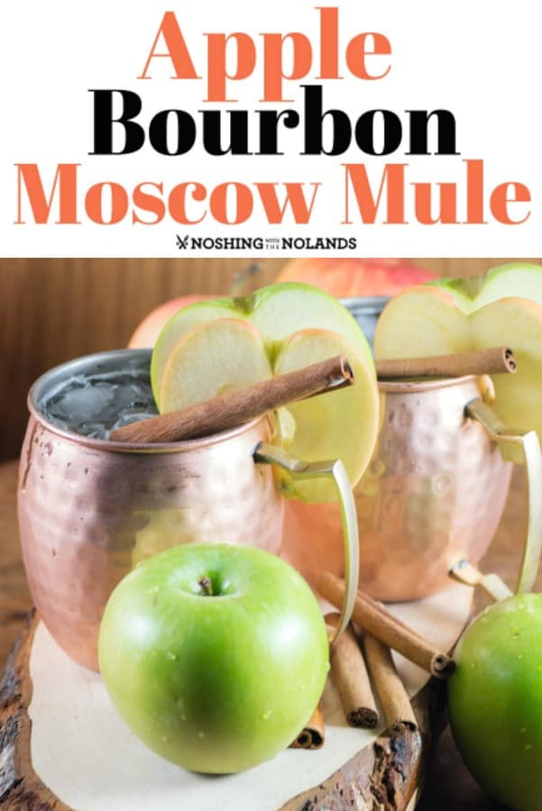 Apple Bourbon Moscow Mule served up in gorgeous handcrafted copper mugs are perfect for the holidays!! #moscowmuled #coppermugs #apples #holidays #bourbon