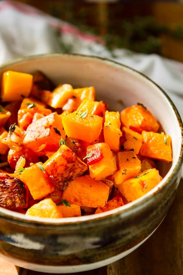 Roasted squash and bacon in a bowl