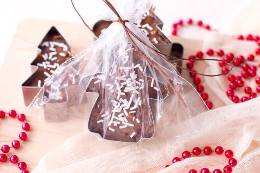 Cookie Cutter Christmas Fudge wrapped in cello.