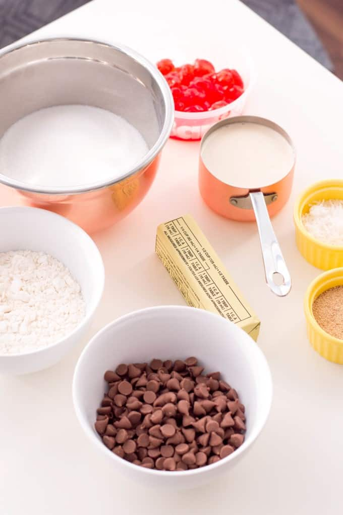 Fudge ingredients on a white cutting board.