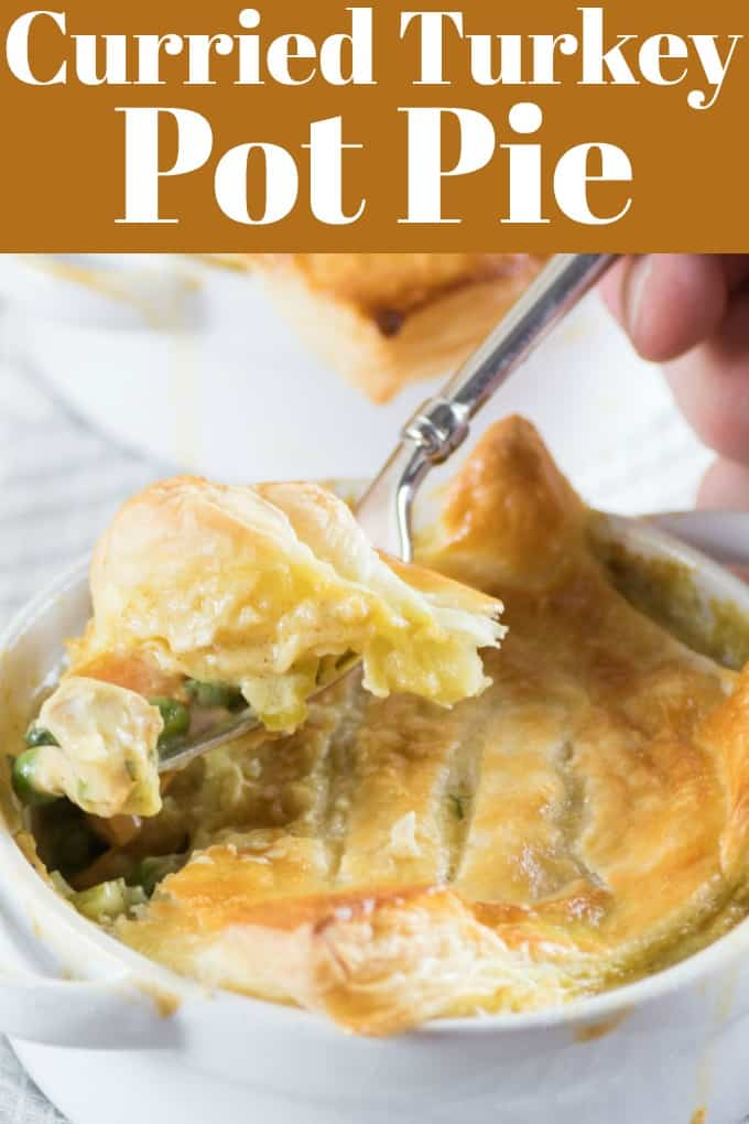 Curried Turkey Pot Pie is simple to make for a great weeknight meal. It takes under 30 minutes to pull together and uses up that leftover turkey! #leftoverturkey #turkey #potpie #WeekdaySuppers