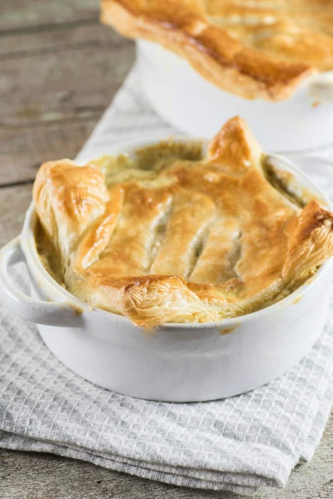 Curried Turkey Pot Pie in ramekins