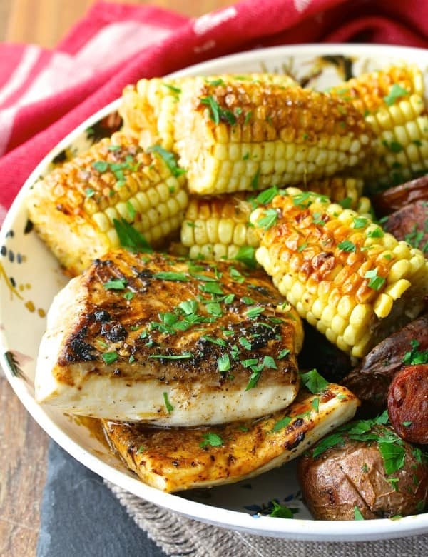 Halibut and corn in a bowl