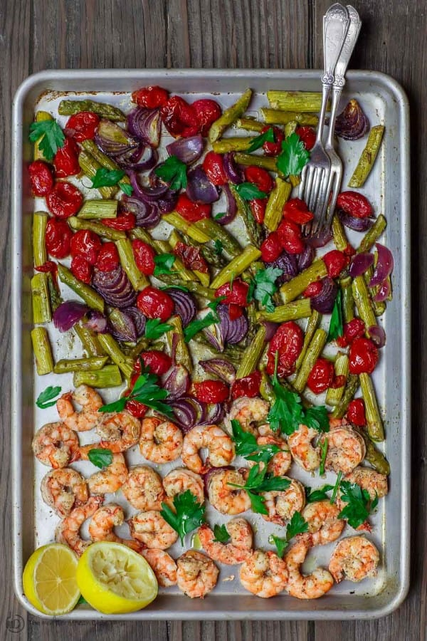 Shrimp and vegetables on a sheet pan