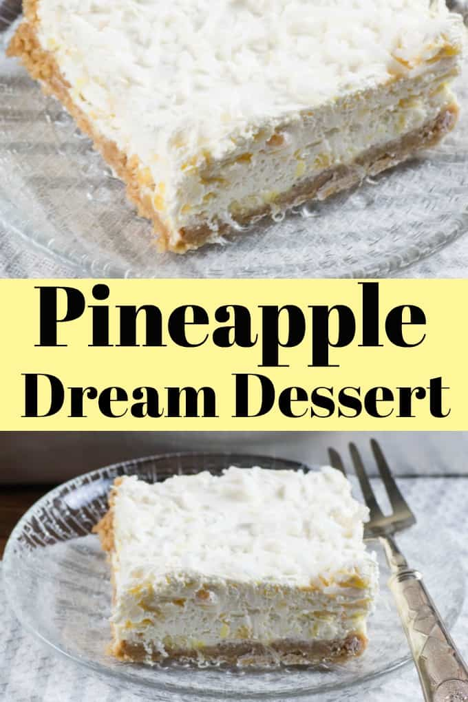 The vintage scrumptious easy-to-make Pineapple Dream Dessert will get you rave reviews. Perfectly portable too for potlucks!! #pineapple #dream #dessert #bars #holidays