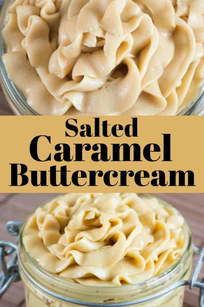 Salted Caramel Buttercream tastes like a cheesecake and is as smooth as silk! This icing goes perfectly with so many desserts!! #buttercream #saltedcaramel