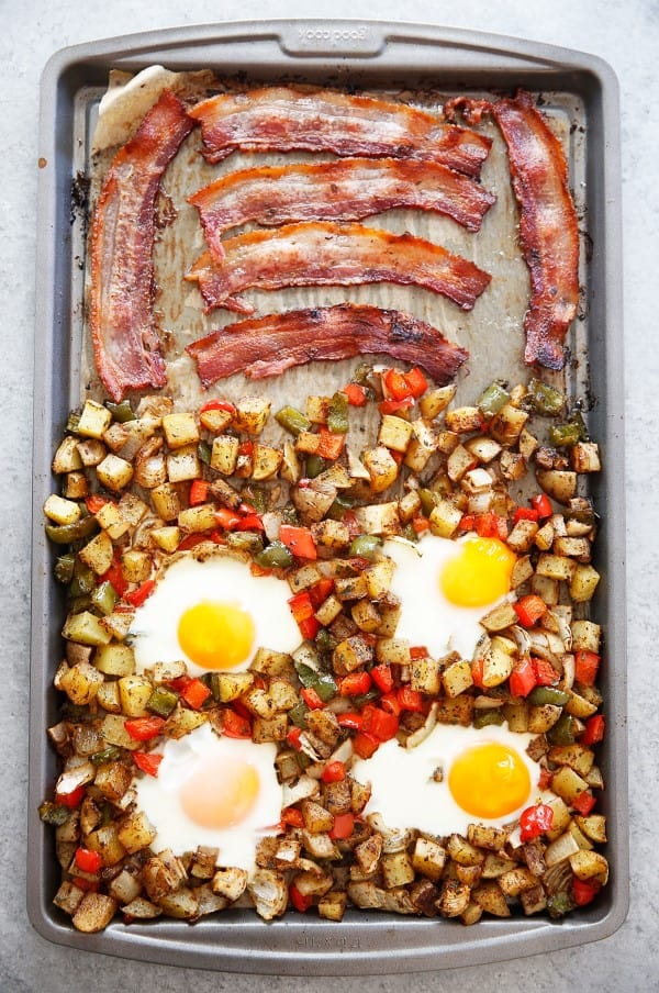 Bacon, hashbrowns and eggs on a sheet pan