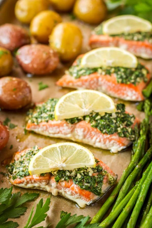 Salmon on a sheet pan with lemon and asparagus