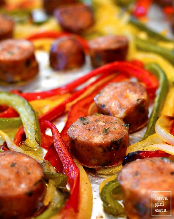 Sausage and peppers on a sheet pan