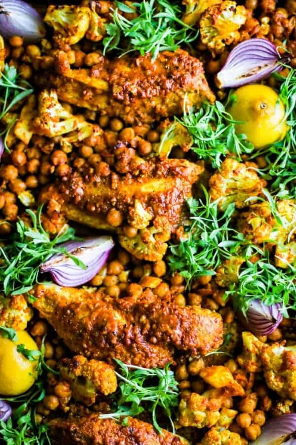 Shawarma Chicken and vegetables with chickpeas