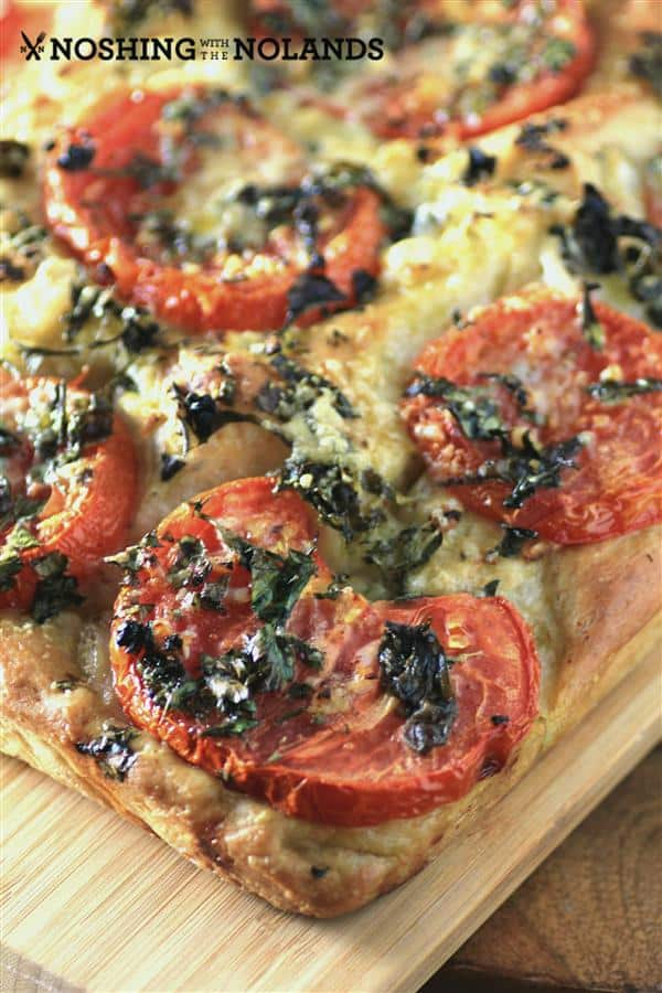 Tomato Foccacia Bread on a cutting board