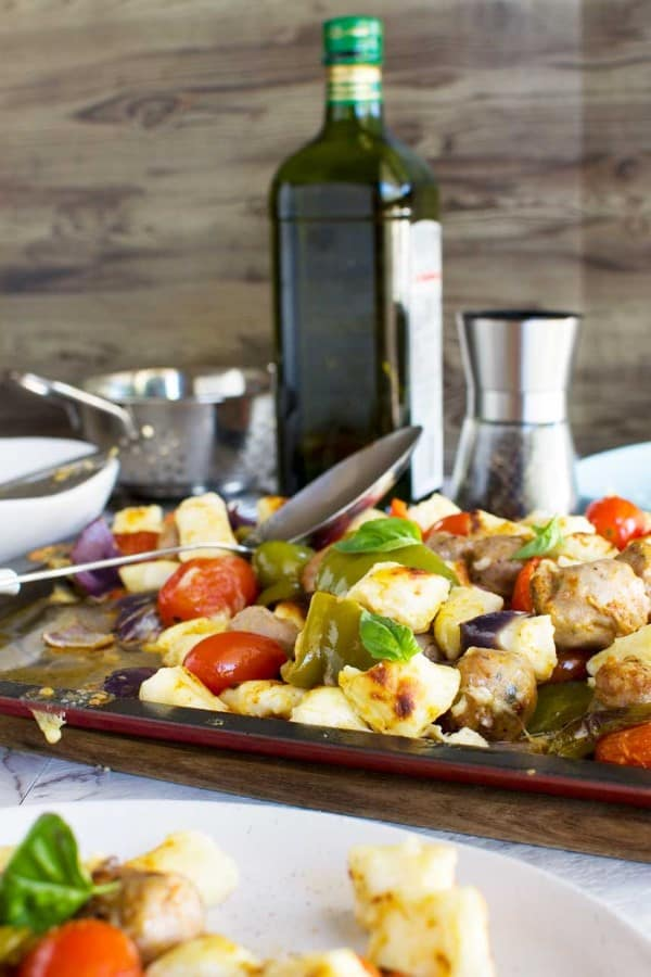 Roasted gnocchi and vegetables on a sheet pan