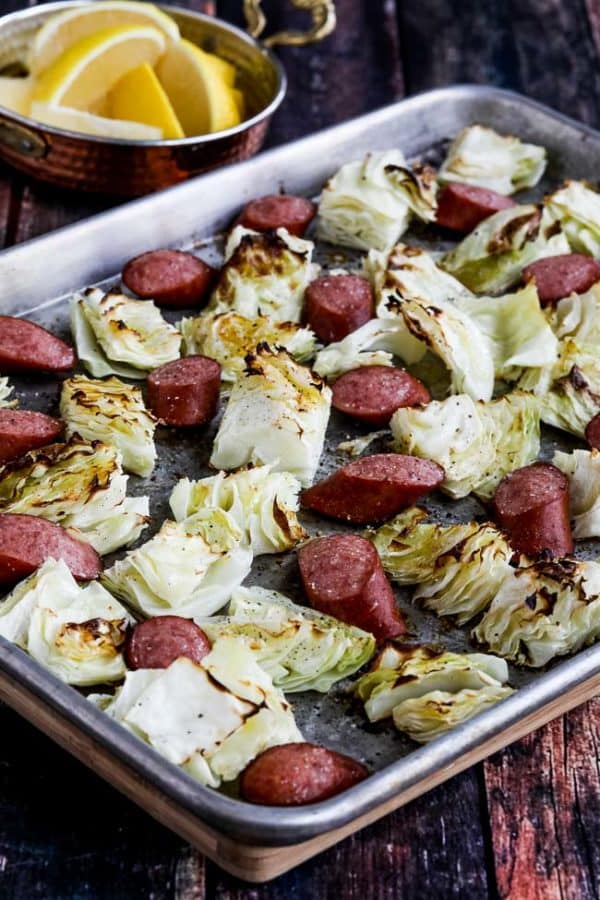 Sausage and cabbage on a sheet pan