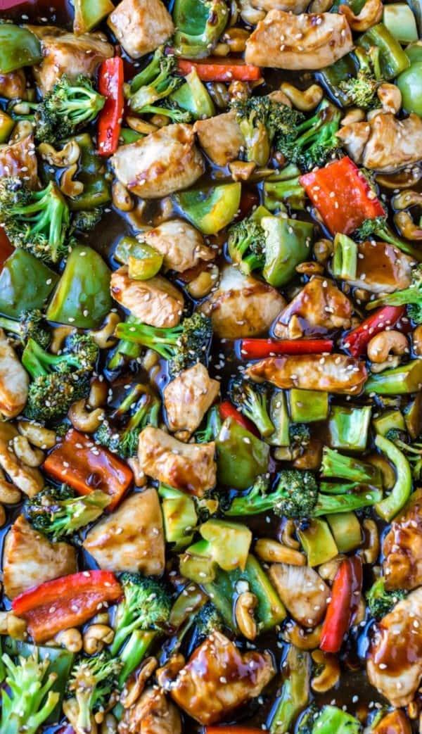 Sheet pan chicken and veggies on a sheet pan
