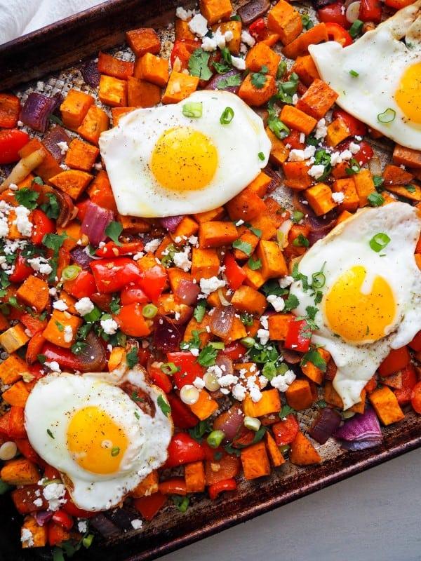 Sweet potato breakfast hash with eggs