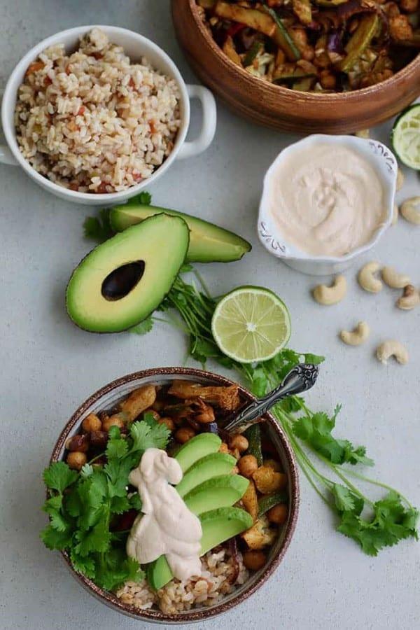 Chickpea and cauliflower fajita bowl