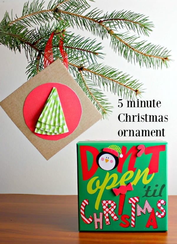 5 Minute Christmas Ornament hanging from a tree.