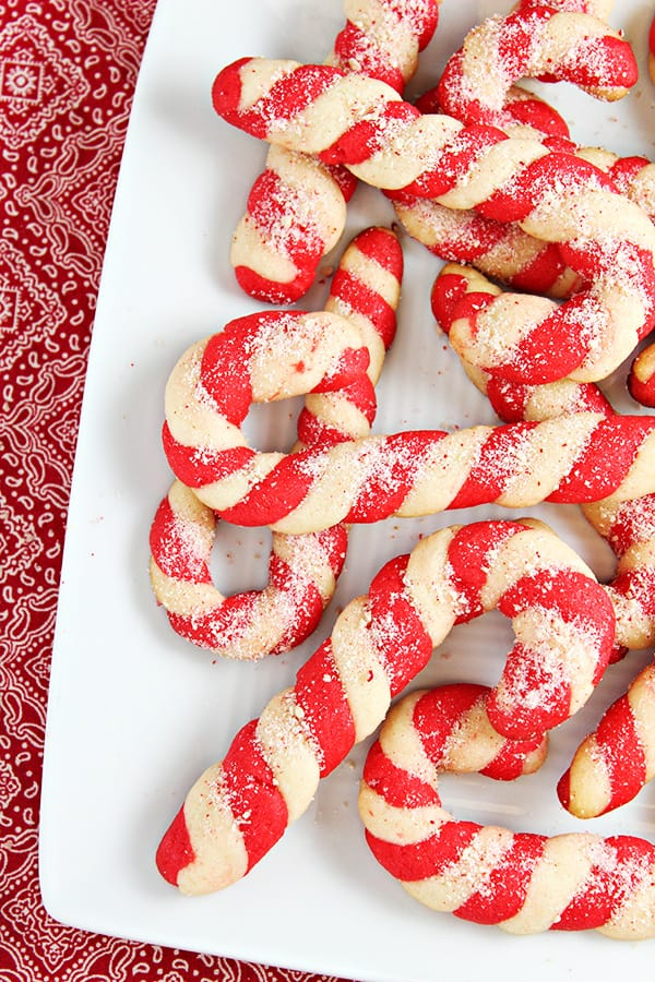 Candy Cane Cookies on a white platter.