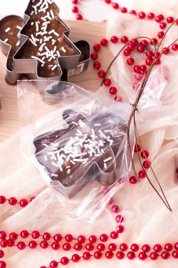 Cookie Cutter Christmas Fudge wrapped up in a cello bag.