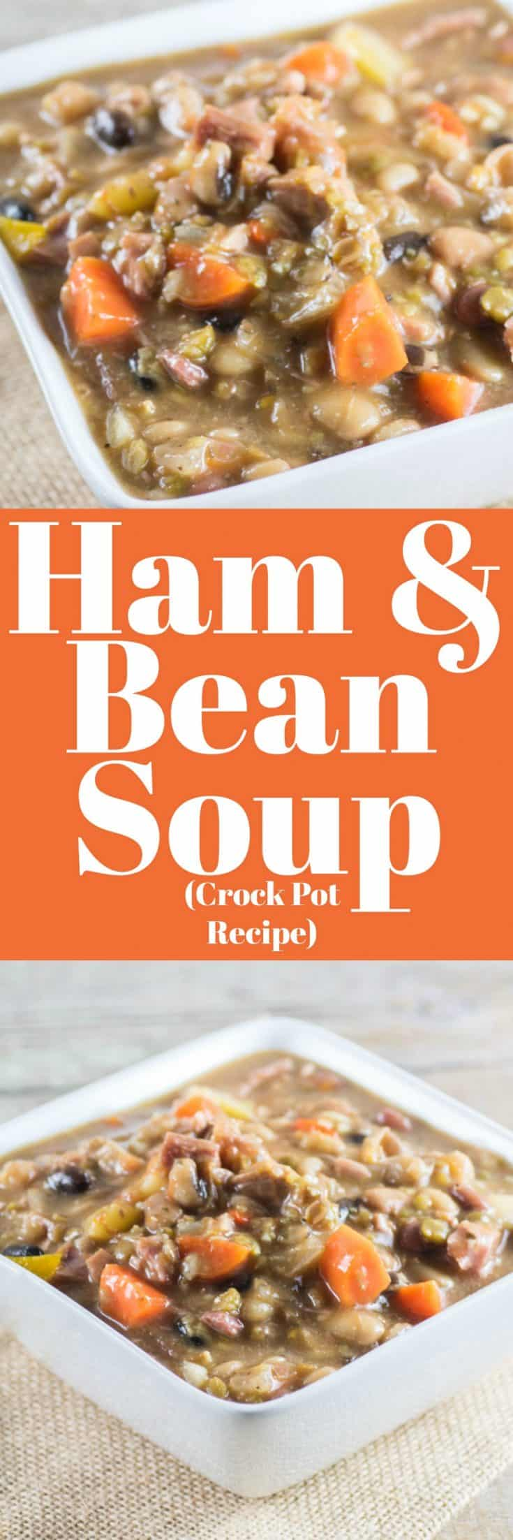 Ham and Bean Soup (Crock Pot Recipe) is great made from a leftover ham bone. It is pure comfort food on a cold winter's day. #hamandbeansoup #soup #hambone #leftovers #crockpot