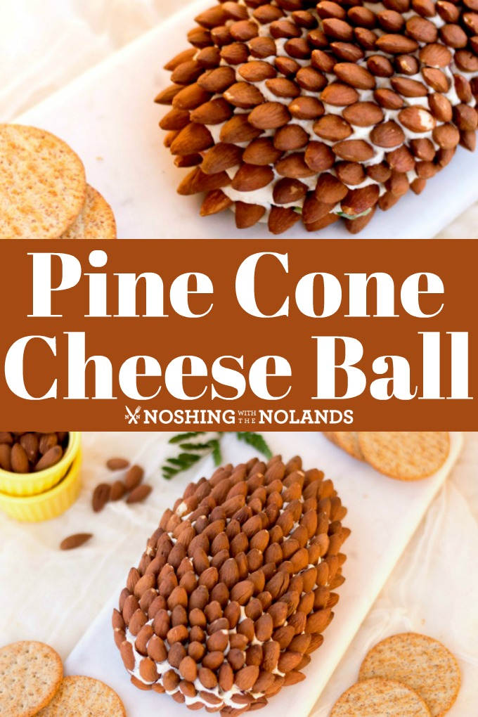 This Pine Cone Cheese Ball is perfect for entertaining for the holidays! It looks festive and tastes delicious!! #cheeseball #pinecone #cheeseappetizer
