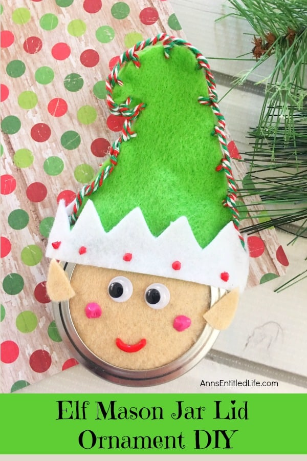 Elf Mason Jar Lid Ornament.