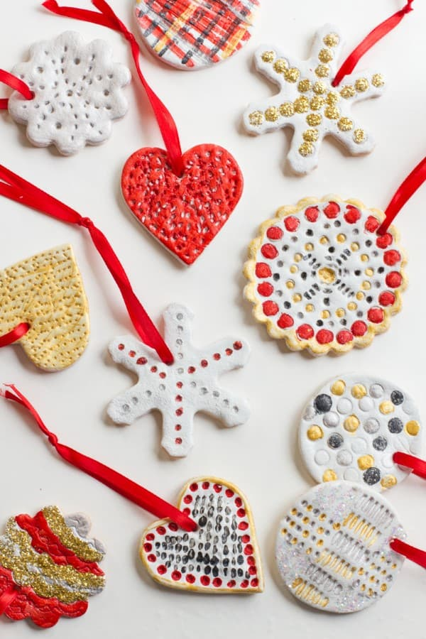 Assorted Salt Dough Ornaments on a white backdrop.