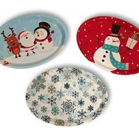 Set of Three Large Oval Christmas Holiday Design Melamine Platter Dishes (Snowflake, Santa Rudolph & Frosty & Classic Snowman)