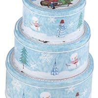 Juvale Christmas Nesting Cake Tins - 3-Set Round Nested Cookie Candy Storage Containers with Lids for Confectioneries, Holiday Decor, Light Blue and White