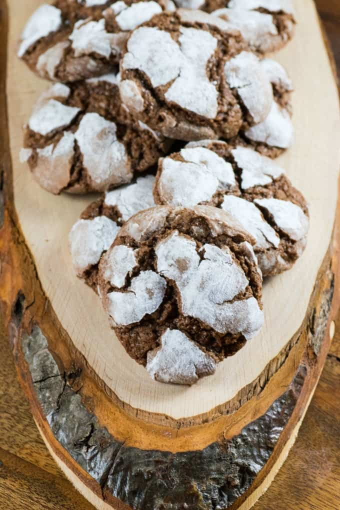 Chocolate Crinkle Cookies on a wooden board