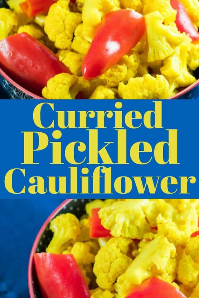 Curried Red Pepper and Pickled Cauliflower is perfect with any cheese board or charcuterie for anytime of the year, plus great with lunches and grilled meats!! #cauliflower #redpeppers #curry #pickled