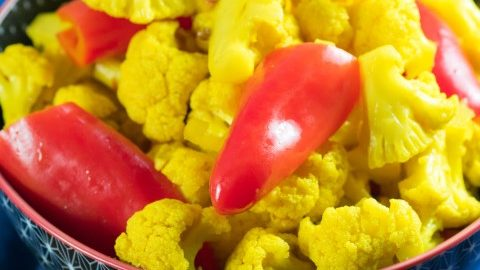 Curried Red Pepper and Pickled Cauliflower