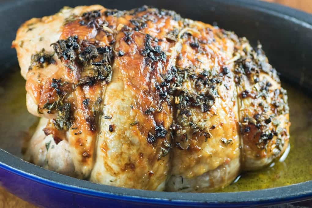 Herbed Butter Roast Turkey Breast in a roasting pan