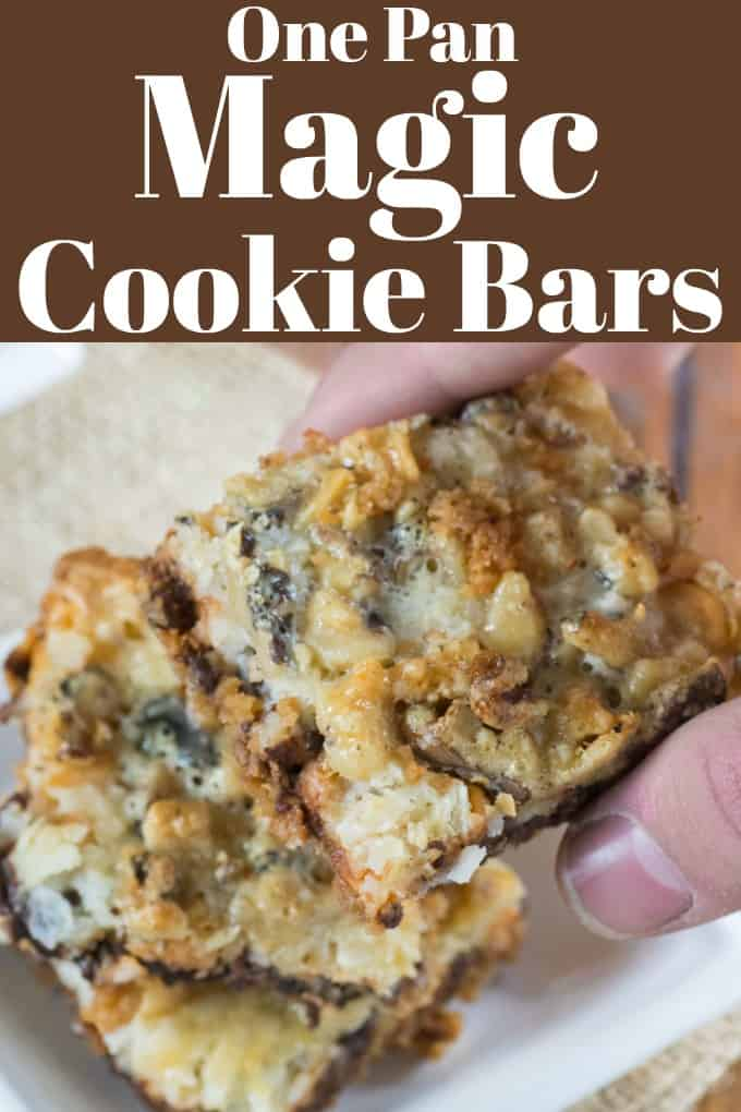 One Pan Magic Cookie Bars are layers of chocolate, butterscotch, coconuts and walnuts and are the easiest dessert to make. #magicbars #7layercookies