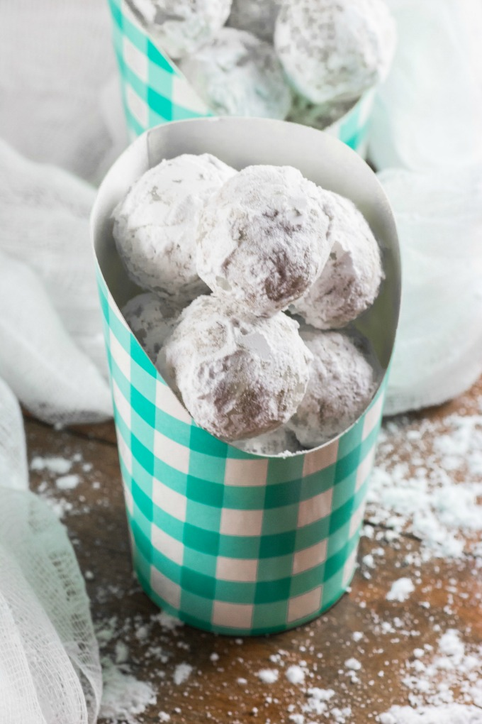 Snowball Cookies in checkered paper containers