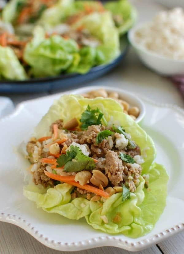 Thai Turkey Brown Rice Lettuce Wraps on a white plate