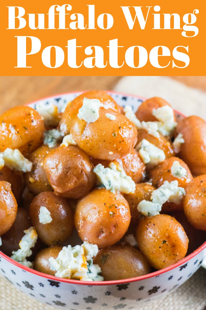 Buffalo Wing Potatoes are made in minutes and fantastic as a lunch, appetizer, or side dish! Great for game day too! #littpotatoes #creamerpotatoes #buffalowing #hotwings