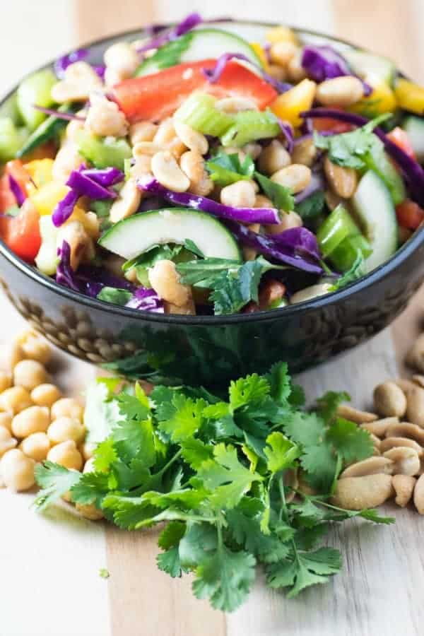 Crunchy Chickpea Peanut Thai Salad in a black bowl