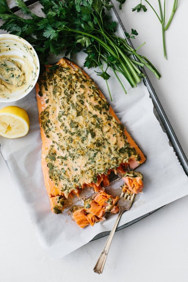 Dijon Baked Salmon on parchment lined baking sheet